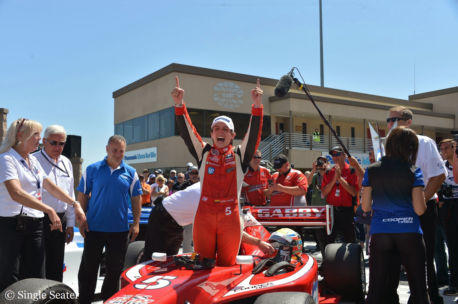 Gabby Chaves celebrates after winning the Indy Lights title.