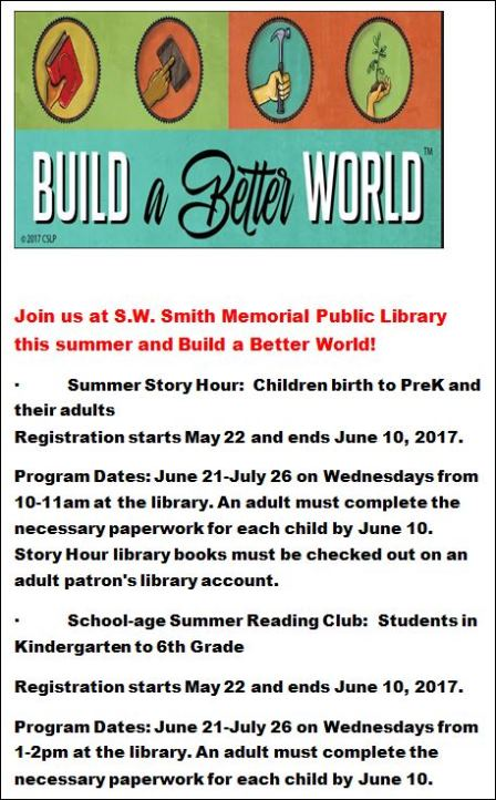 5-29 to 6-10 Registration For Summer Reading Program