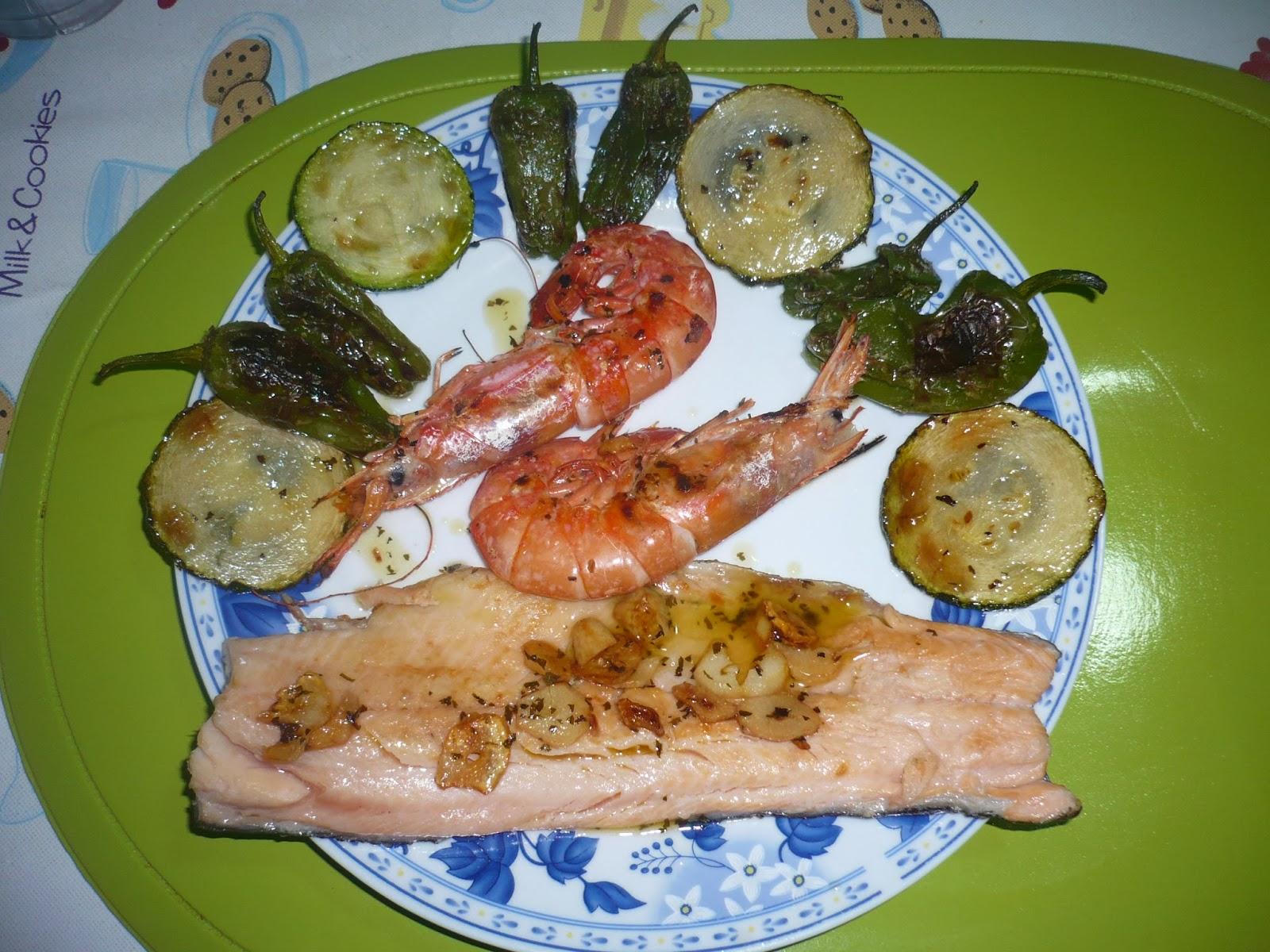 En la cocina con ana dieta pp trucha gambones y verduras - Ana cocina facil ...