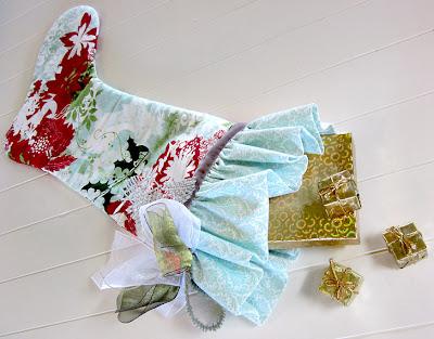 Meia de Natal de tecido passo a passo