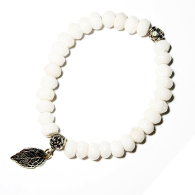 White Agate Bracelet with Leaf