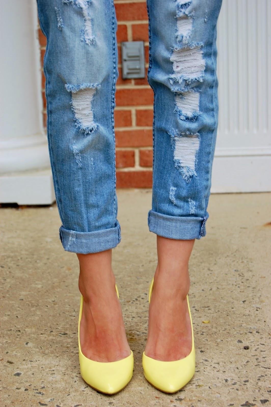 Wearing Kohl's Elle slubbed graphic tee, Nordstrom distressed boyfriend jeans, Yellow Bcbg paris Jaze d'Orsay heels, Forever21 gold scalloped cuff, Bcbg Maxazria lucite clutch