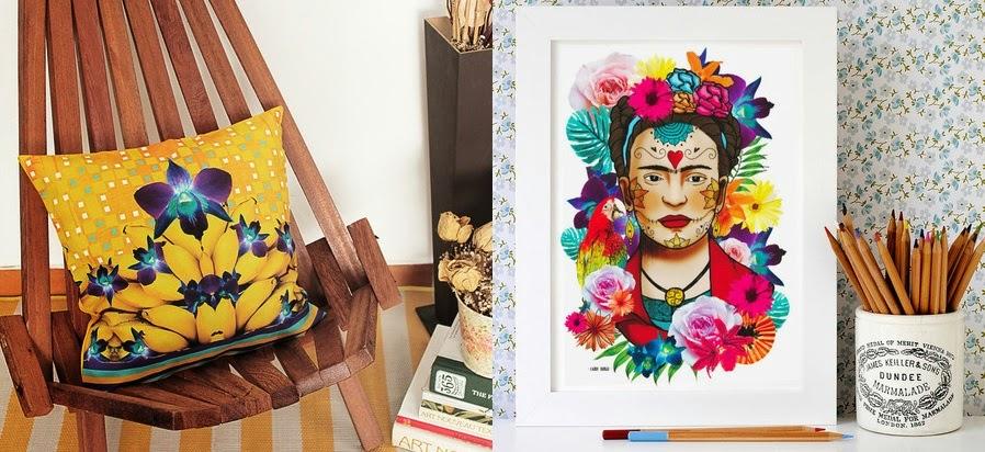 Capa de almofada banana e cartaz Frida