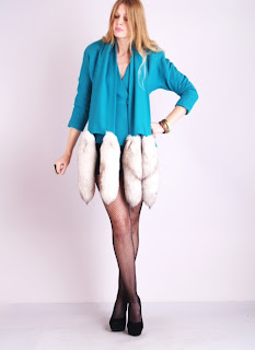 Vintage 1960's teal wool coat with attached fox tail scarf and button front closure.