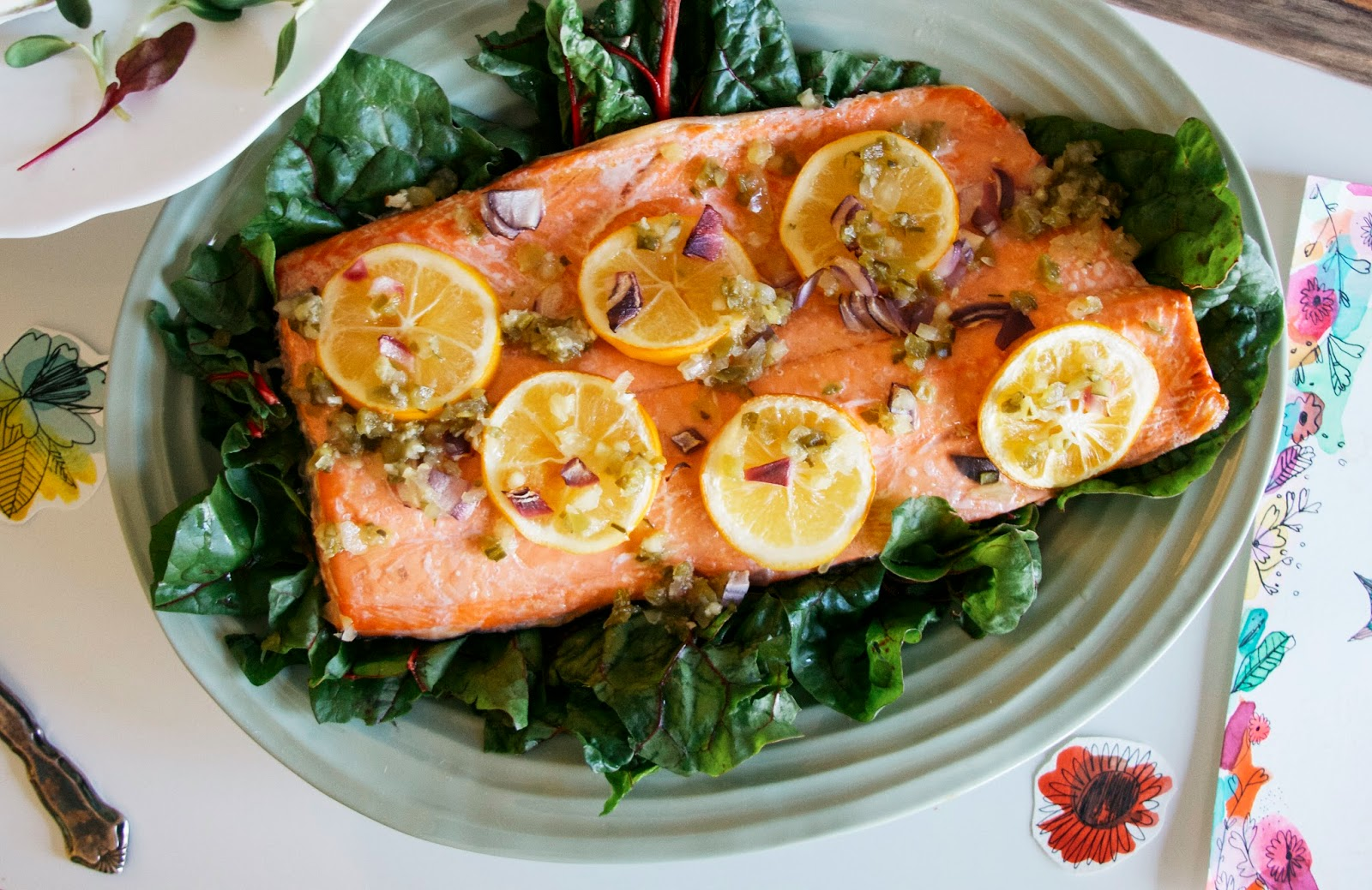 Salmon with Lemon and Chard