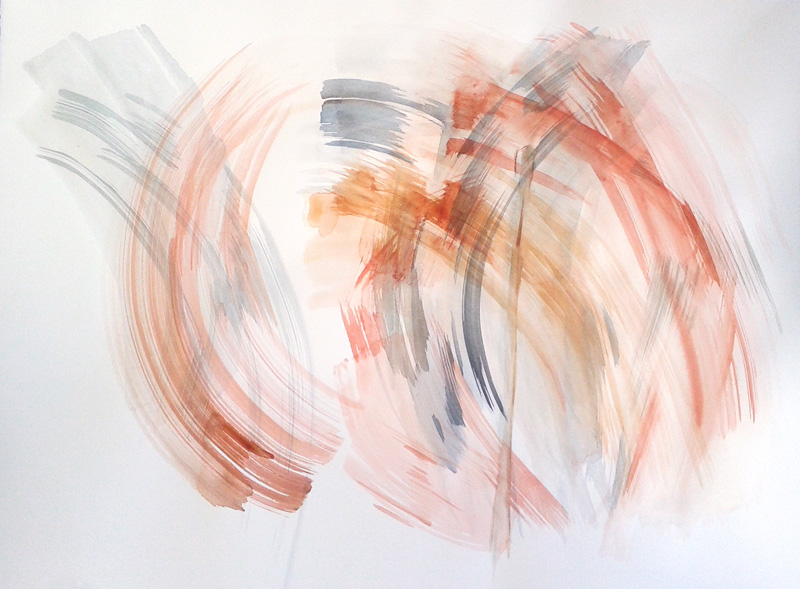 abstract gestural watercolor painting, conceptual modern contemporary art, brushstrokes, light orange, pastel blue, grey, white