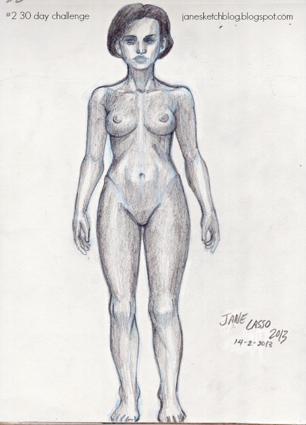 Dibujo desnudo femenino a lápiz