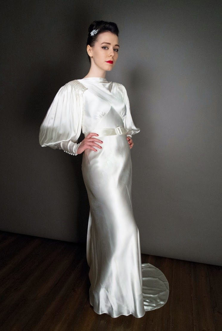 Beautiful White Satin 1930s Wedding Dress Sold