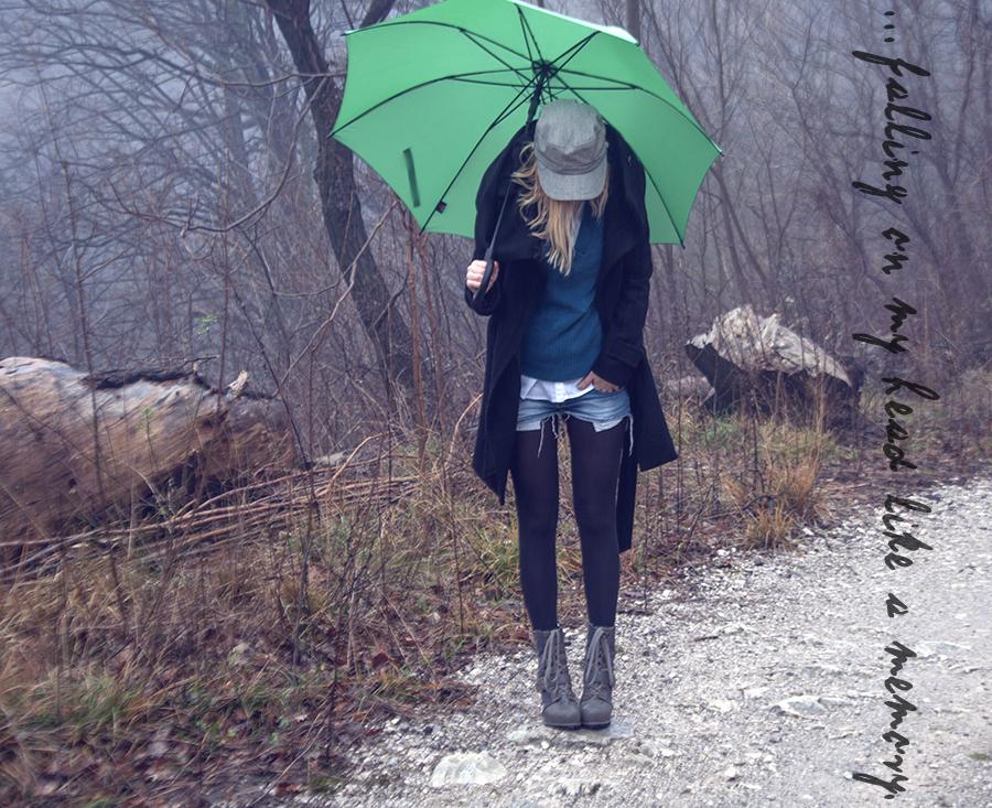 For Peet's Sake blog denim cut off shorts black tights newsboy hat Zara black coat grey boots