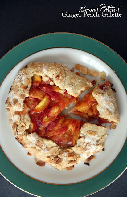 Vegan ginger peach galette with almond crust