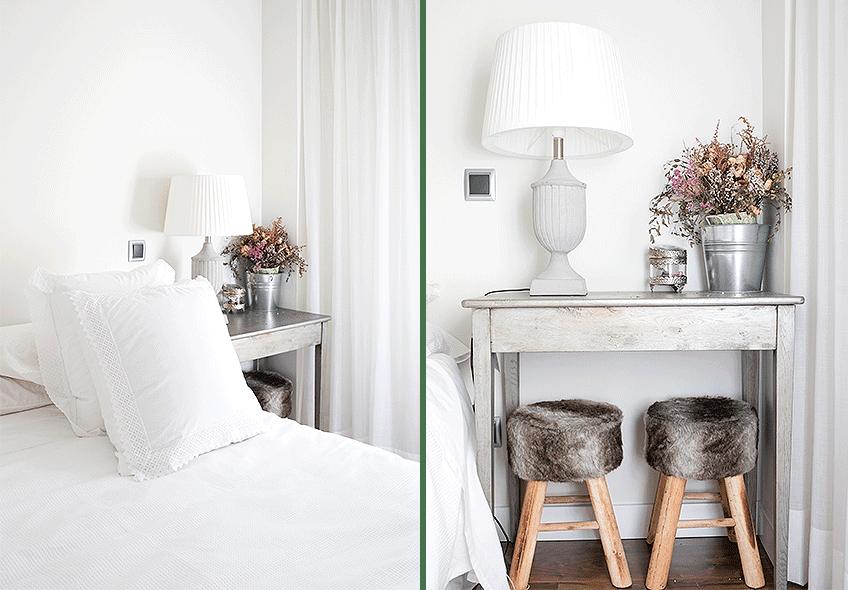 Dormitorio rústico blanco
