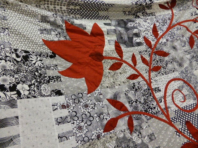 Black white & red quilt