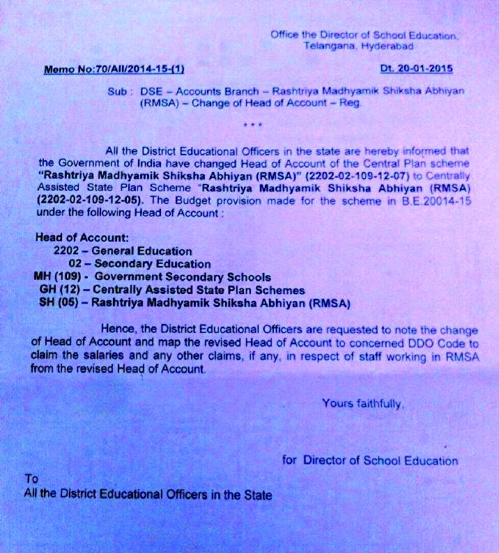 Memo.No.70/A11/2014-15(1) Dated 20.1.2015 Rashtriya Madhyamik Shiksha Abhiyaan RMSA New Head of Accounts