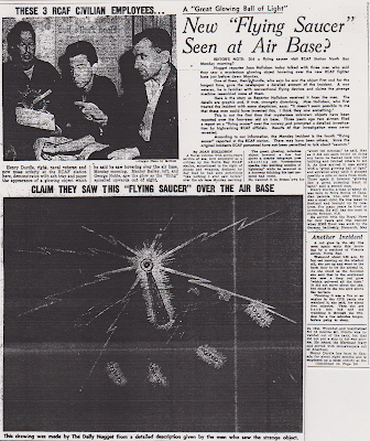 UFO Spotted Over Canadian Air Base – North Bay Daily Nugget (1 of 2) 8-31-1954