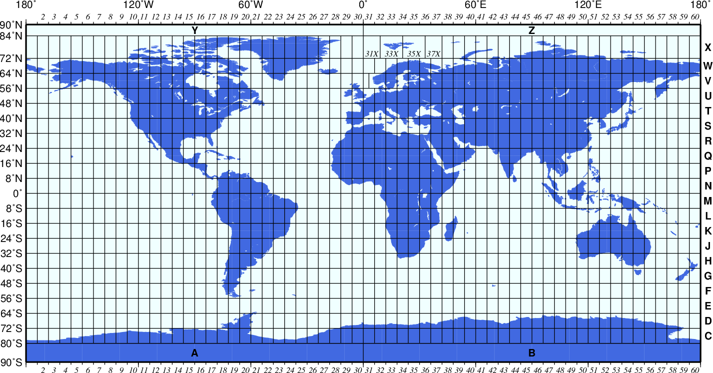 Figure 2 - The Universal Transverse Mercator (UTM) grid