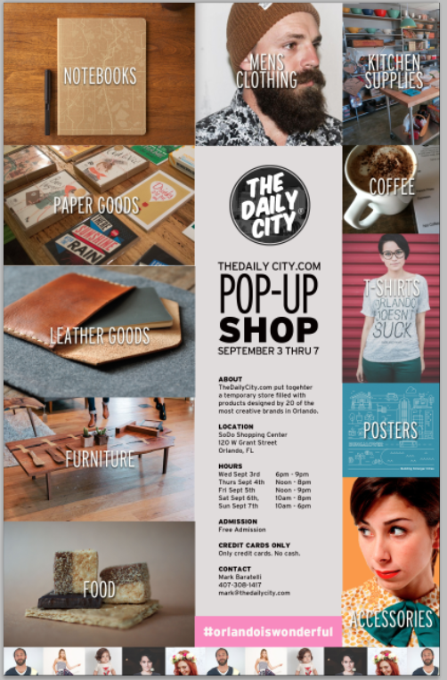 The Daily City® Pop Up Shop September 3-7 2014