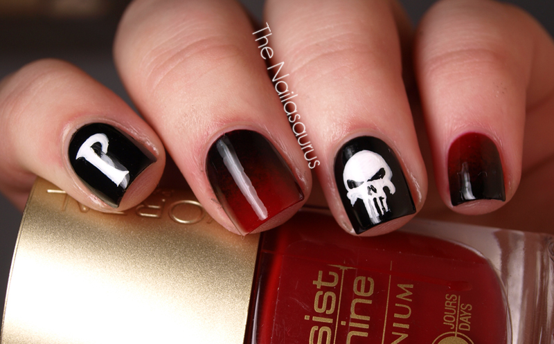 Marvel Punisher Nail Art