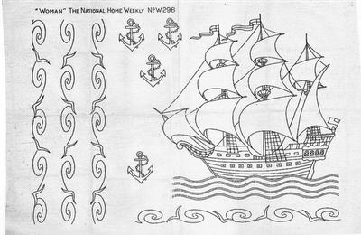Mønster til broderi af sejlskib