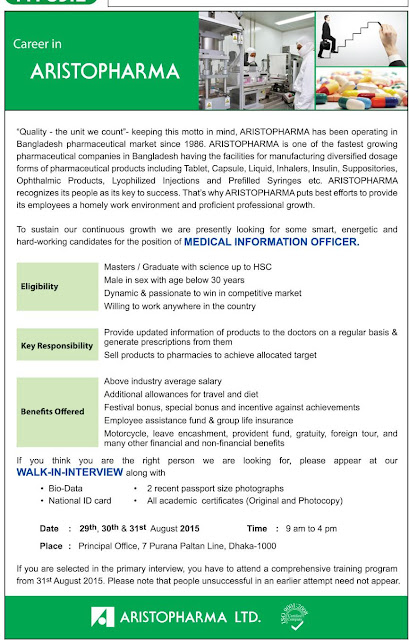 Post: Medical Information Officer | Organization: Aristopharma Ltd