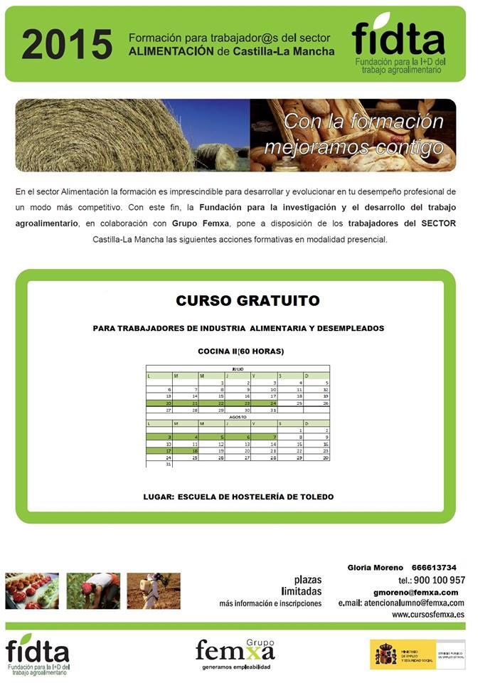 #Toledo Curso gratuito de Cocina (60 horas y se van a impartir en la Escuela de Hostelería en Julio-Agosto)