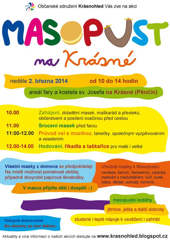 Masopust na Krásné 2. 3. 2014 - plakát