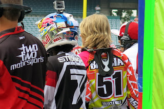 Justin Barcia watches a heat race.