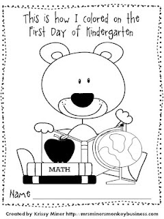 First Day Kindergarten Coloring Sheet