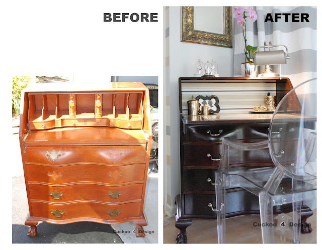 red mahogany stained secretary with claw feet before and after