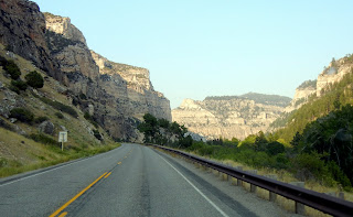 Driving into the Bighorn National Forest on highway 20 in Wyoming
