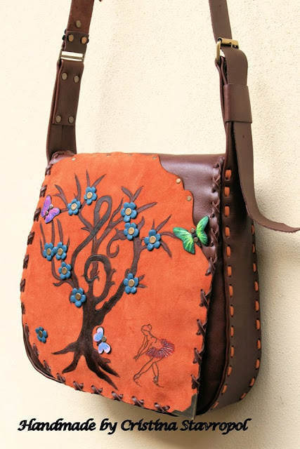 geanta portocalie cu balerina piele naturala lucrata manual