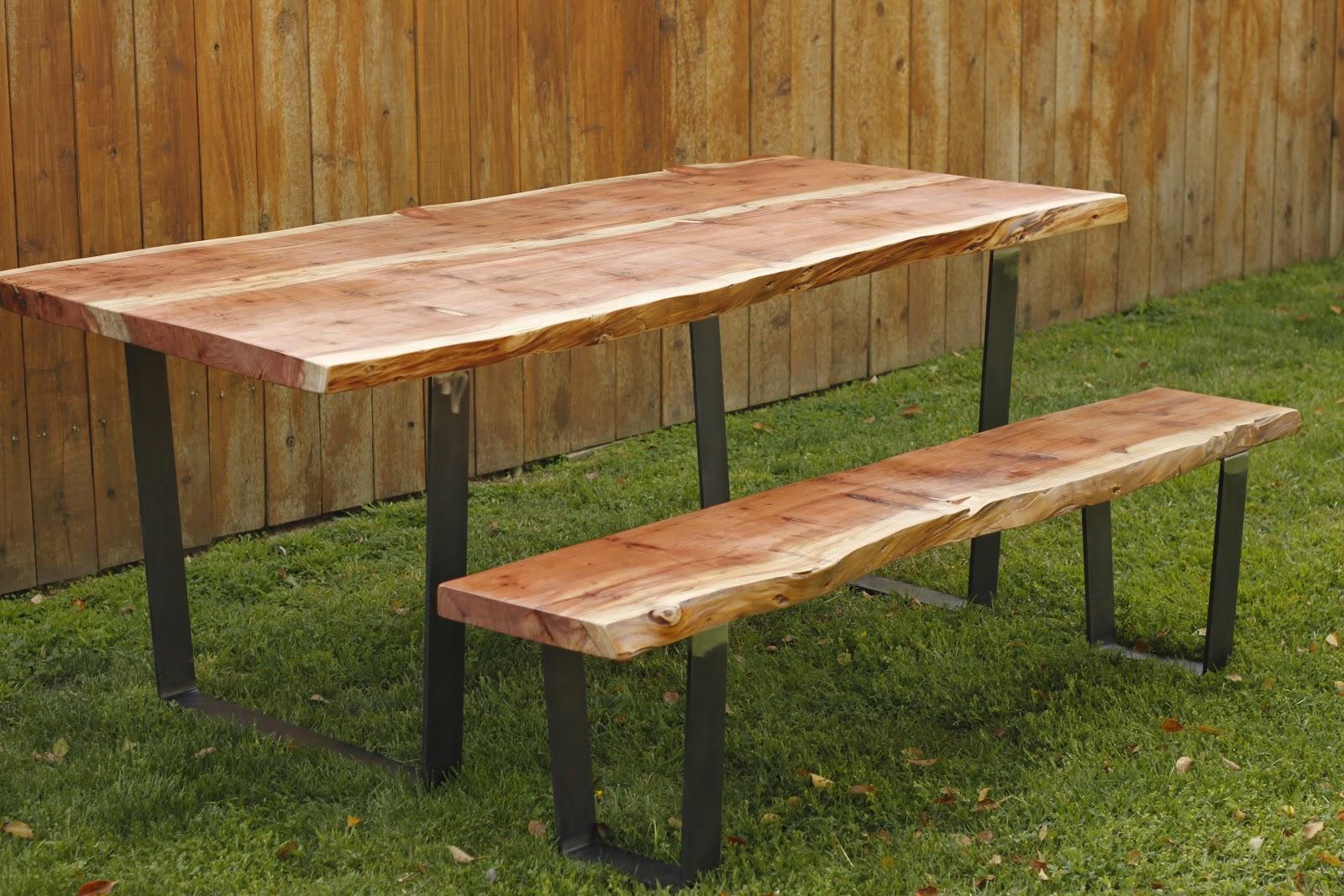 Arbor Exchange Reclaimed Wood Furniture Redwood Slab Table Bench