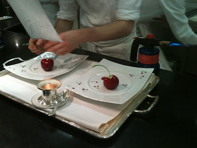Laurent Jeannin at the Bristol Hotel. Cherries dessert