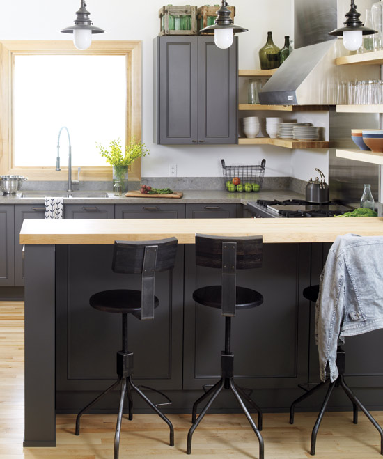 Black Kitchen Cabinets With Butcher Block Countertops: Rustic Modern: Kitchen Inspiration