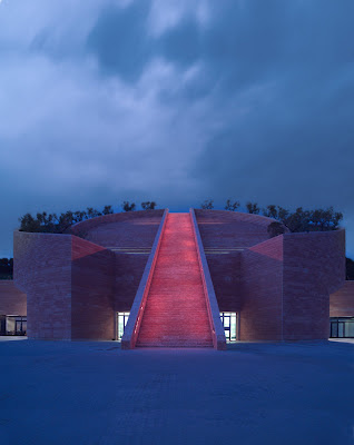 Main entrance of the Petra Winery designed by Swiss architect Mario Botta