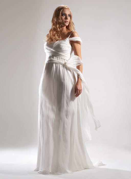 Maternity wedding gown model is rather different at the time used is not too
