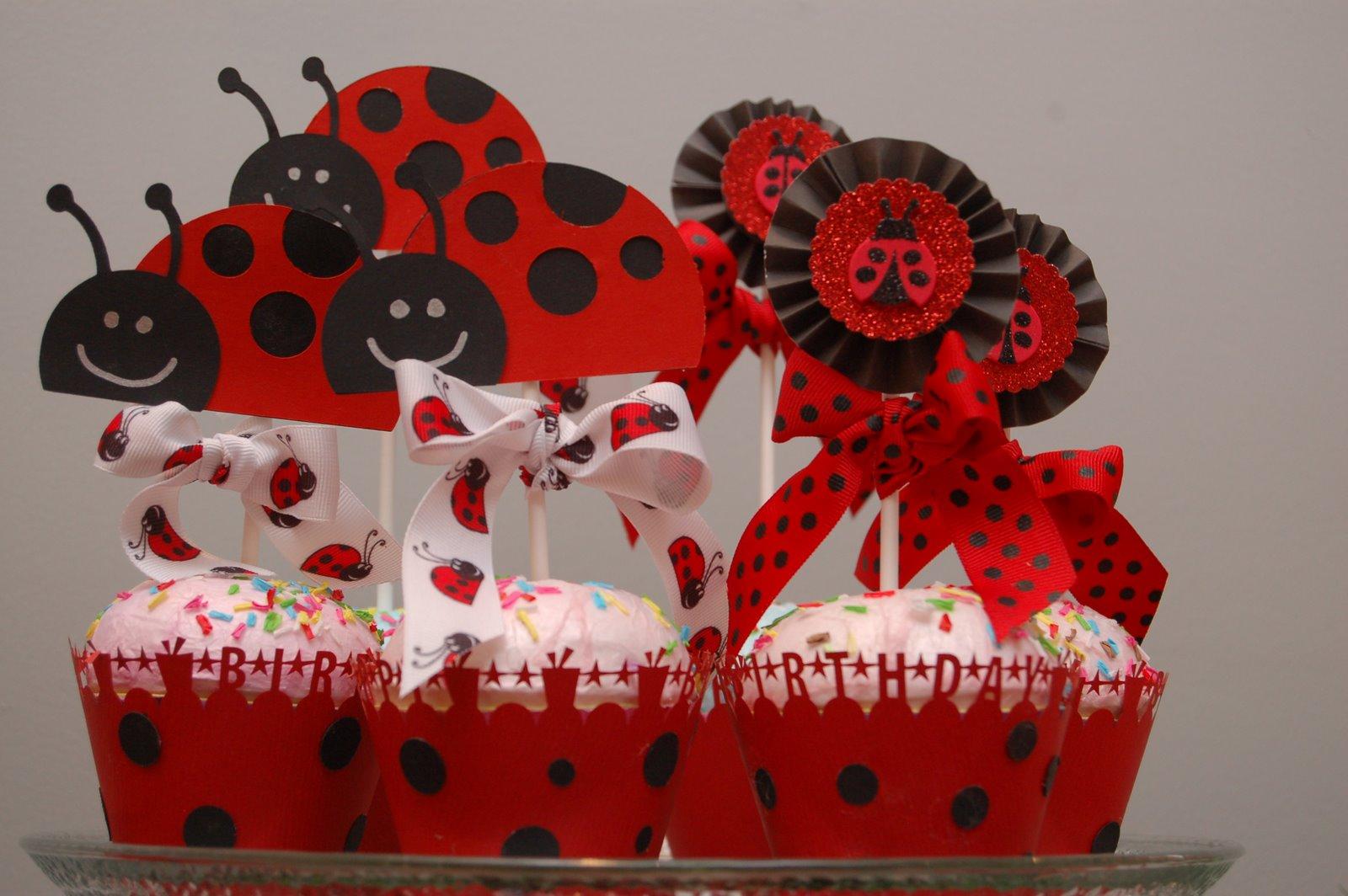 Maddysons Lane Lady Bug Party - Bug cupcake decorating ideas