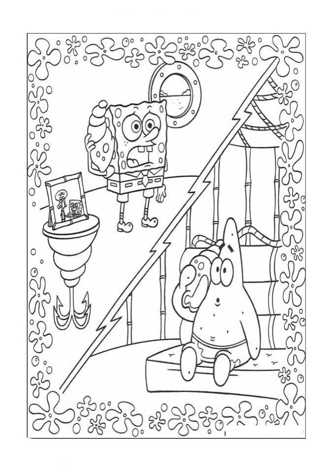 a desenhar Bob Esponja Caçando Agua Viva colorir