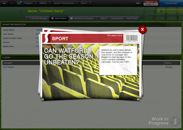 Game Status Screen In Football Manager 2013