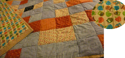 photo of the quilt with a sneak peek glimpse of the reverse shown in a superimposed circle