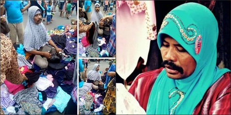 HEBOH! Inilah Pria Penjual Jilbab yang Lucu