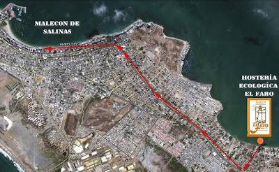 como llegar a la Hostería Ecológica El Faro Hoteles en Salinas
