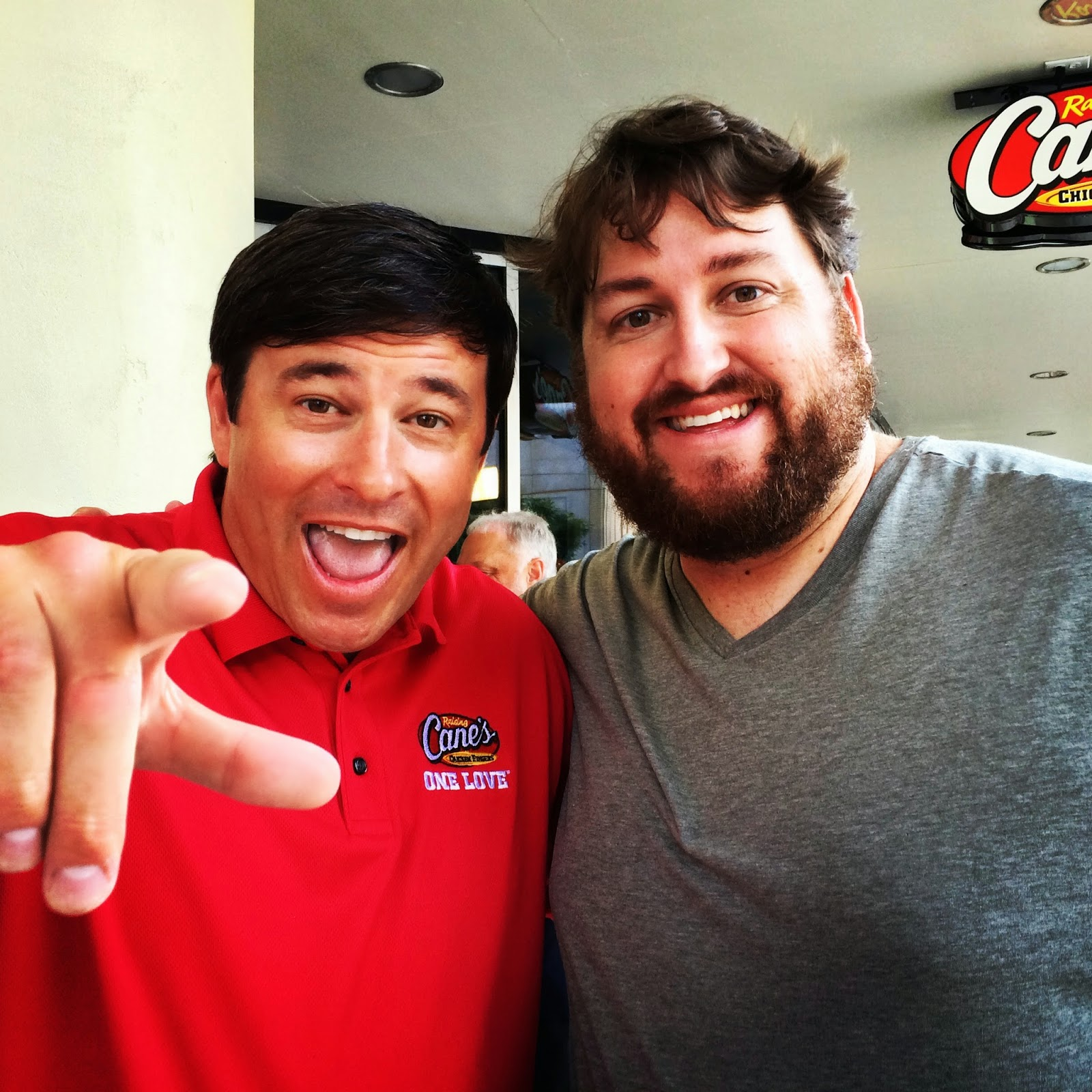 Todd Graves and Jay Ducote at the new Downtown Baton Rouge Cane's