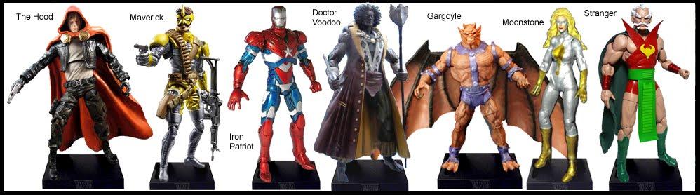 <b>Wave 8</b>: The Hood, Maverick, Iron Patriot, Doctor Voodoo, Gargoyle, Moonstone and Stranger