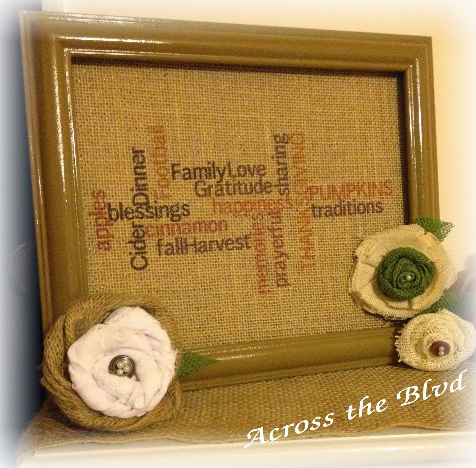 autumn burlap and flowers decor