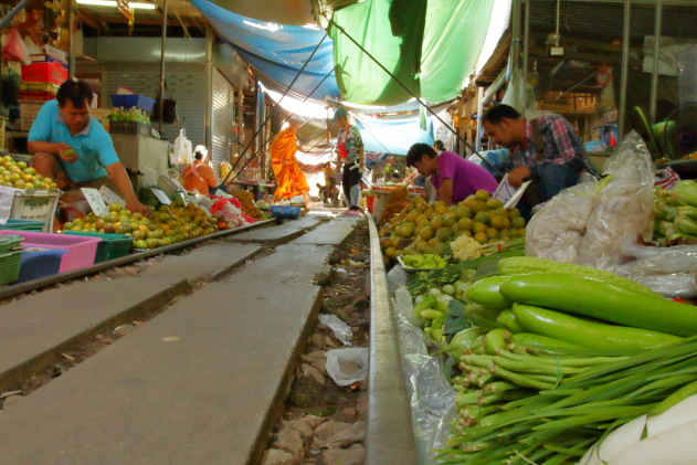 Mae Klong Railway Market also known as the Risky Market of Thailand