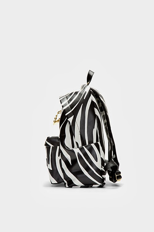 BLACK ZEBRA PRINT SAFETY PIN JW ANDERSON EDITION BACKPACK