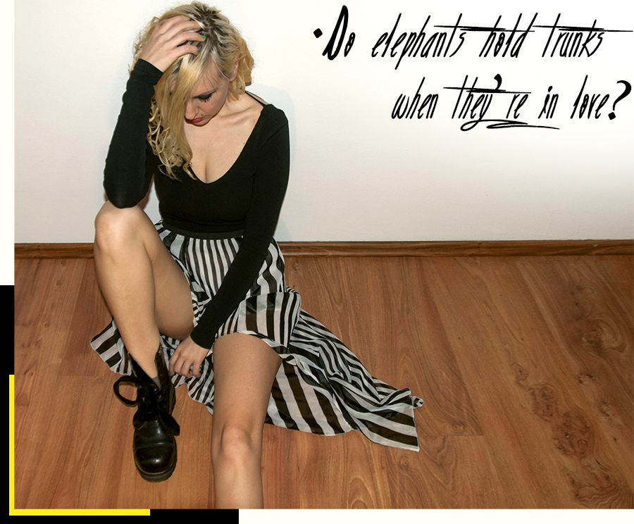 For Peet's Sake blog striped skirt black top Dr Martens