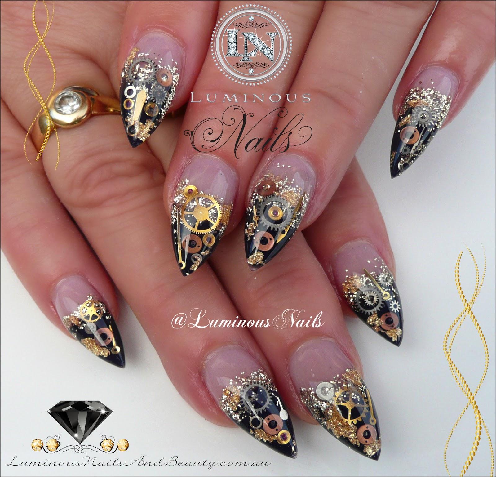 Luminous Nails Black Gold Steam Punk Acrylic Nails
