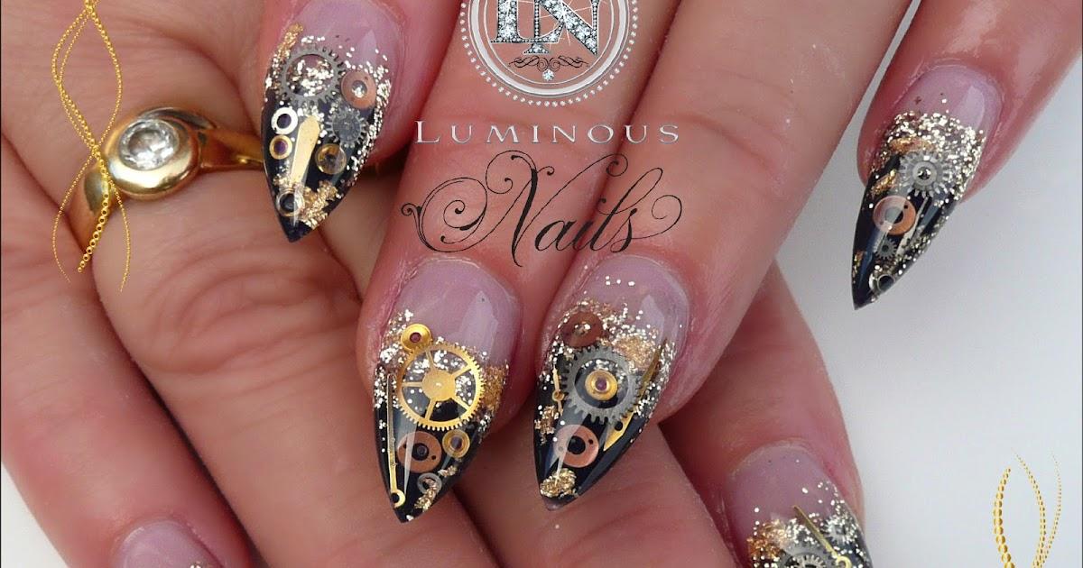 Luminous Nails: Black & Gold Steam Punk Acrylic Nails