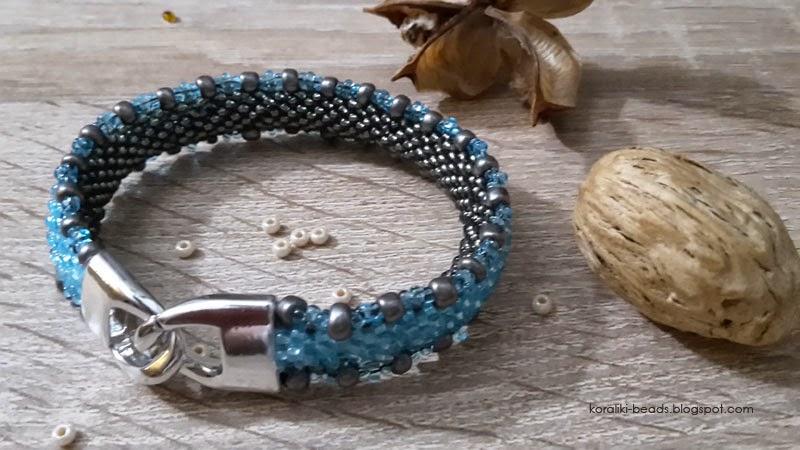 Bransoletka gąsieniczka szaro - niebieska głębia blue
